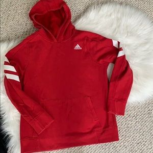 Boys red adidas striped hoodie Excellent